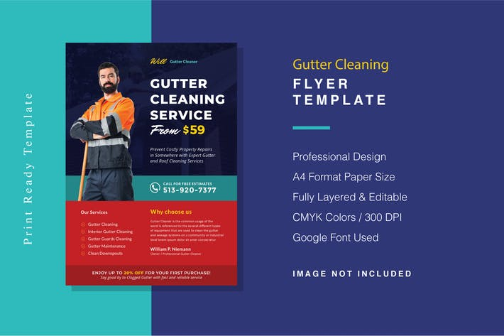 Thumbnail for Gutter Cleaning Flyer Template