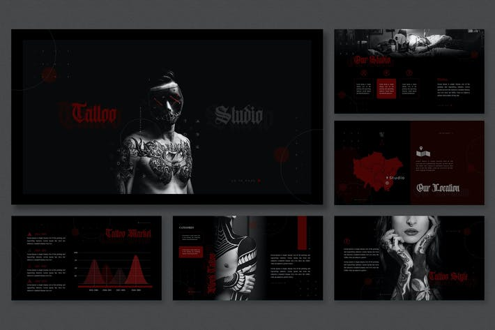Thumbnail for Dark Modern Theme - Tattoo Studio Presentation