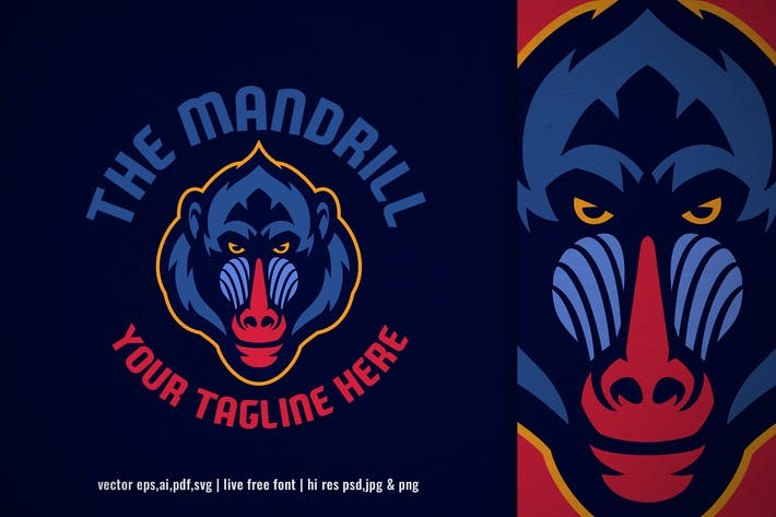 Thumbnail for mandrill monkey head logo