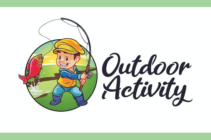 Thumbnail for Logo de la mascota del personaje del niño de pesca