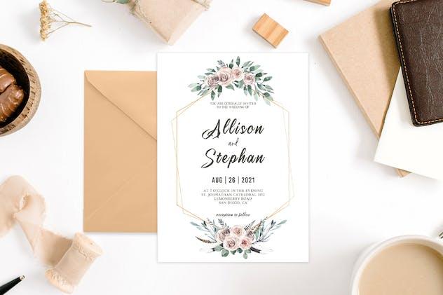 Floral Geometric Wedding Invitation Template