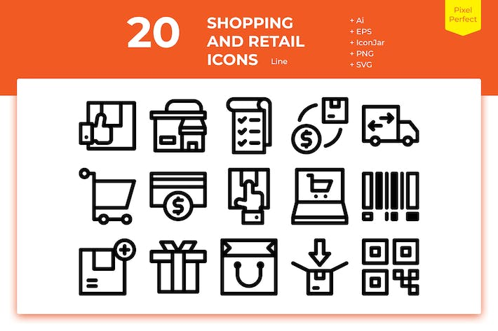 Thumbnail for 20 Shopping and Retail Icons (Line)