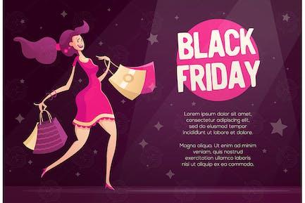Black Friday Flyer Vorlage mit glücklich weiblichen Shop