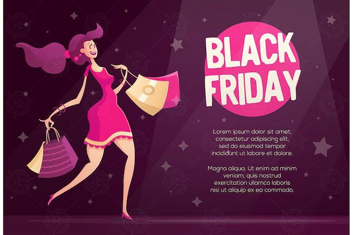 Thumbnail for Black Friday Flyer Vorlage mit glücklich weiblichen Shop