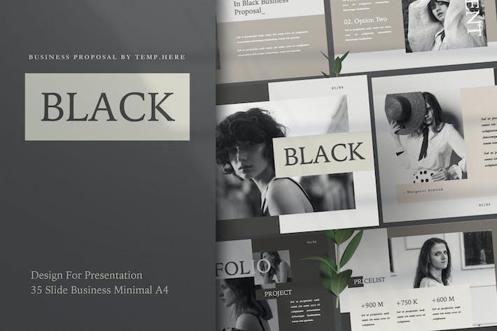 Black Business Workbook Google Slide Proposal A4