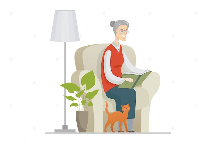 Thumbnail for Senior woman reading - flat design illustration