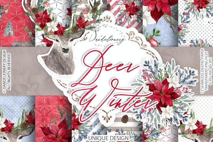 Thumbnail for Deer Winter digital paper pack