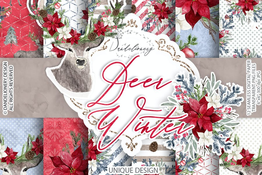 Deer Winter digital paper pack