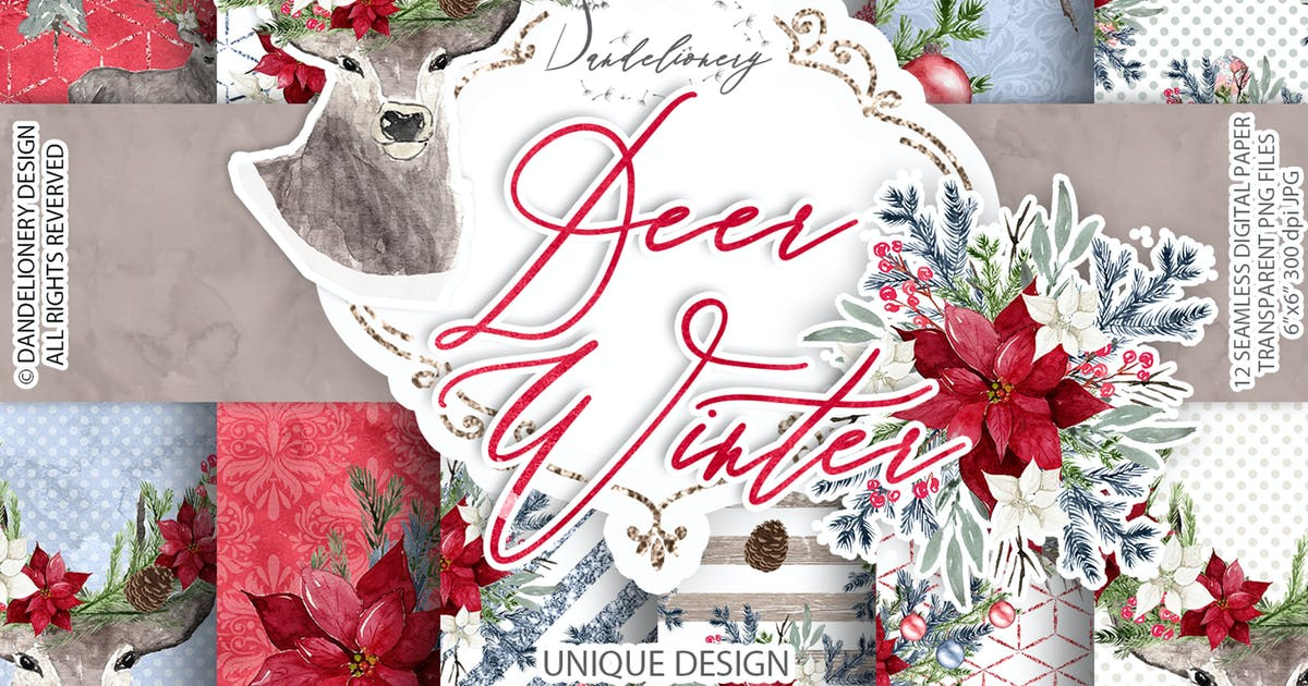 Download Deer Winter digital paper pack by designloverstudio