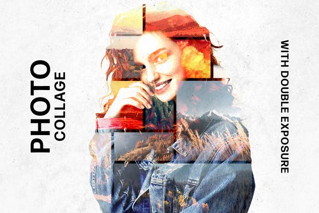 Collage Template with Double Exposure Effect