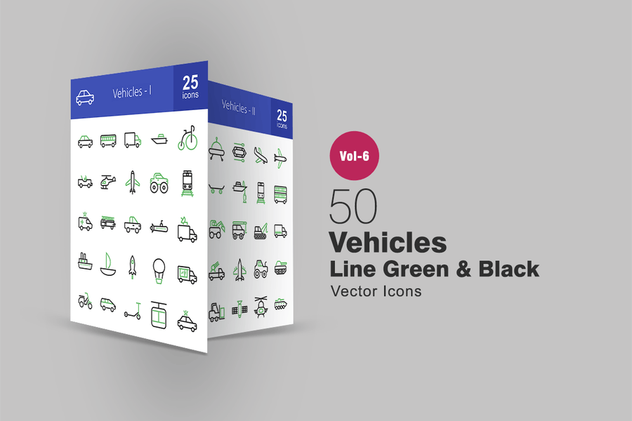50 Fahrzeuge grüne & schwarze Linie Icons