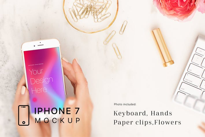 Thumbnail for Hand and Workspace iPhone 7 Mockup