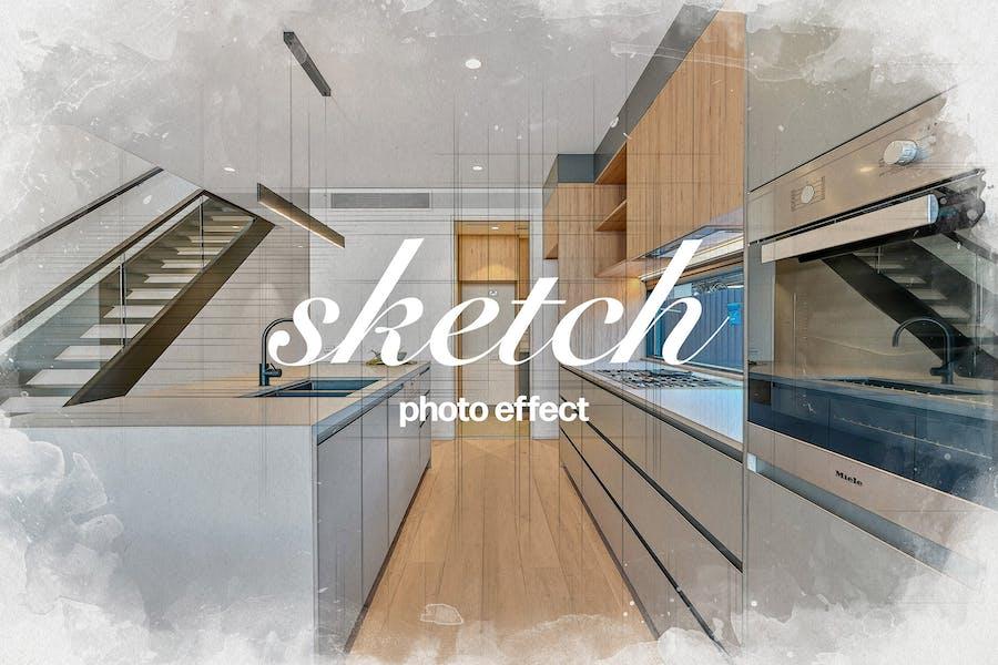 Интерьерный фотоэффект Sketch