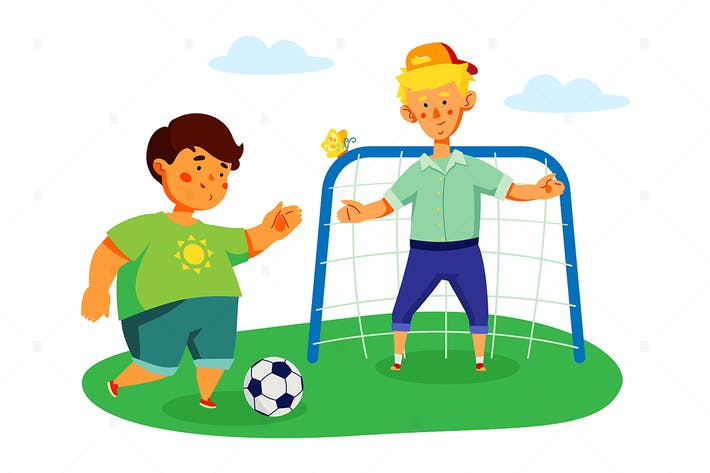 Thumbnail for Children playing football - flat illustration
