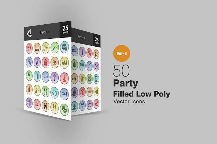Thumbnail for 50 Party Filled Low Poly Icons