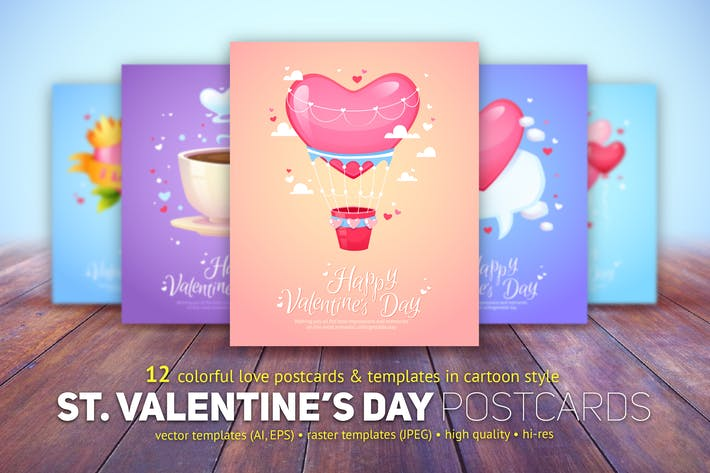 Thumbnail for St. Valentine's Day Cards Templates