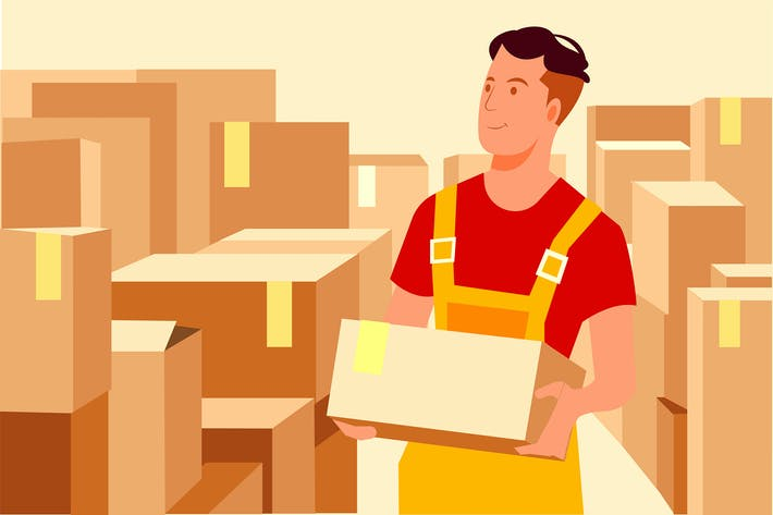 Thumbnail for Young man working at a warehouse with boxes