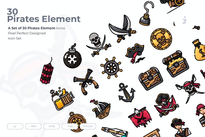 Thumbnail for 30 Piraten-ElementIcons