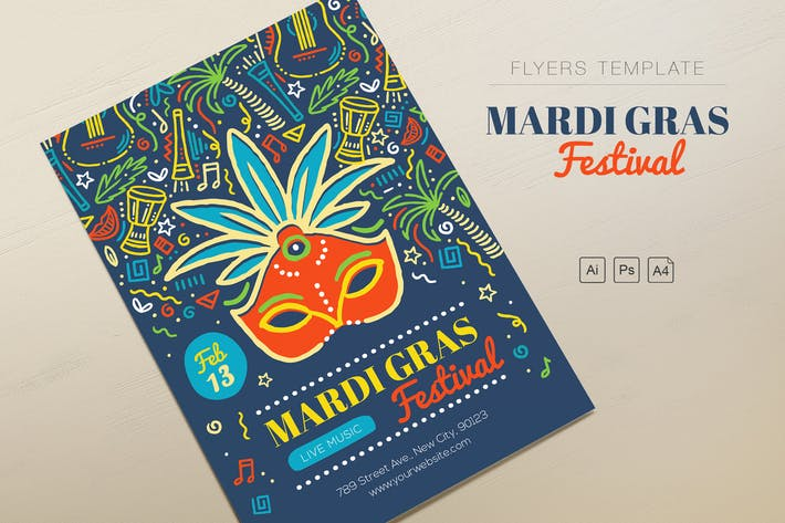 Thumbnail for Mardi Gras Festival Flyers
