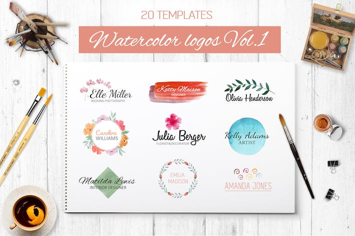 Thumbnail for Watercolor logo templates Vol.1
