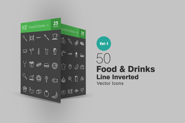 Thumbnail for 50 Food & Drinks Line Inverted Icons