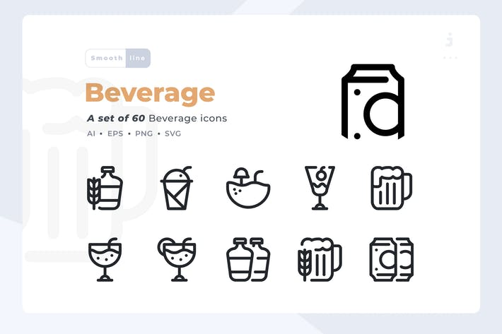 Thumbnail for Smoothline - 60 Beverage icon set