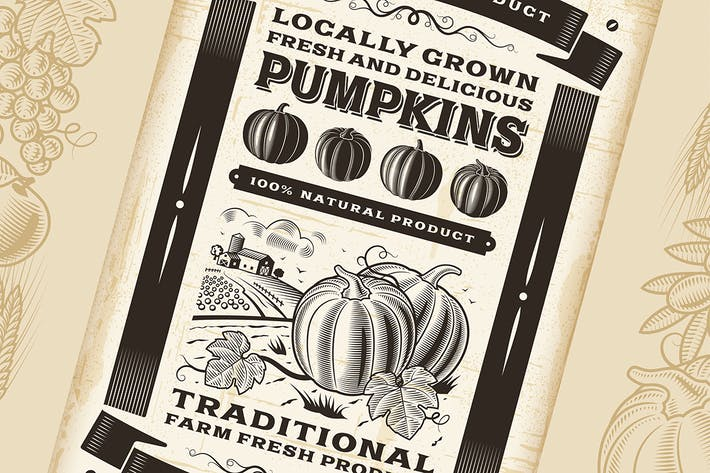 Thumbnail for Vintage Pumpkin Harvest Poster