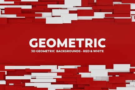 3D Geometric Abstract Backgrounds - Red & White