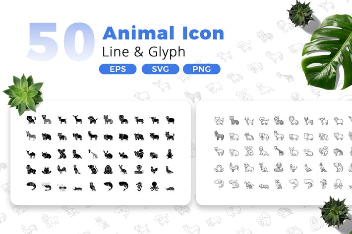 Thumbnail for 50 Animal Icon Pack