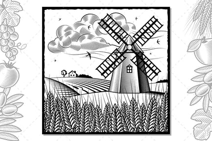 Landscape With Windmill Black And White