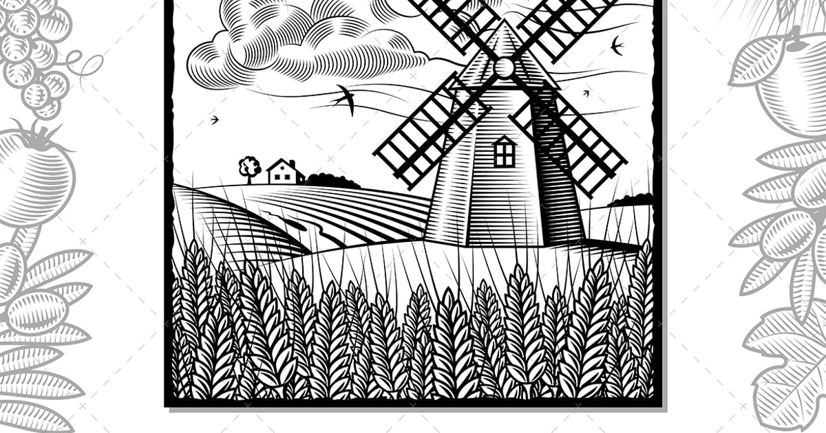 Download Landscape With Windmill Black And White by iatsun