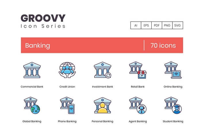 Thumbnail for 70 Banking Icons - Groovy Series