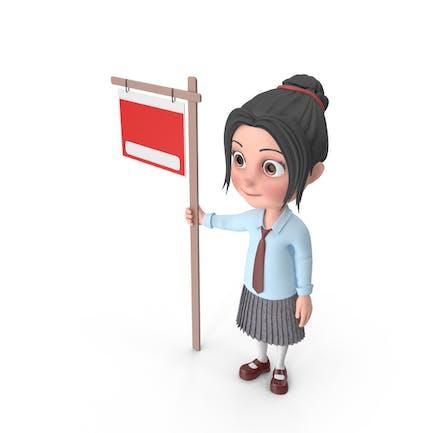 Cartoon Mädchen Emma zeigt Zeichen