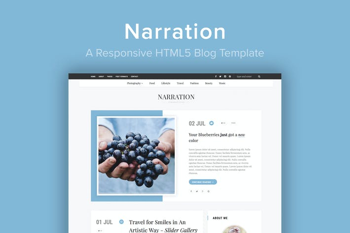 Thumbnail for Narration - Un Modèle de blog HTML5 Responsive