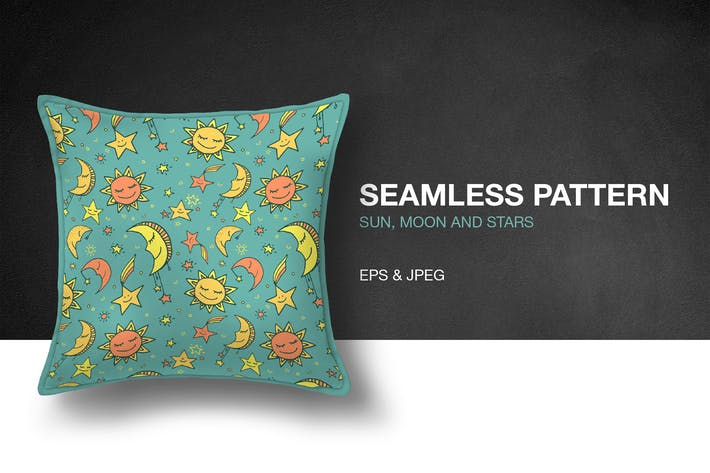 Thumbnail for Sun, Moon and Stars Seamless Pattern