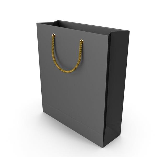 Черная сумка для покупок с золотыми ручками