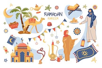 Ramadan Kareem Concept Isolated Elements Set