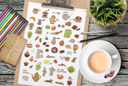 Kaffee und Tee Doodles
