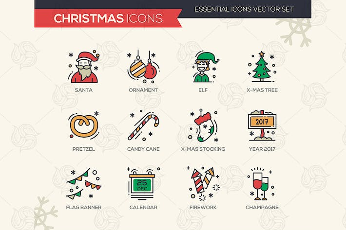 Thumbnail for Christmas and New Year - Line Design Icons Set