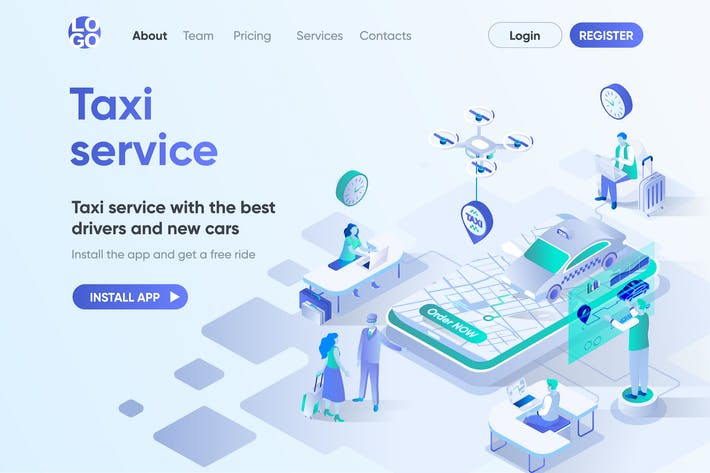 Thumbnail for Taxi Service Isometric Concept Landing Page