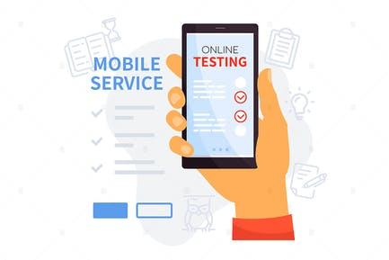 Online-Testen mobiler Service - Illustration