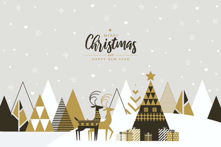 Thumbnail for Flat design Creative Christmas greeting card