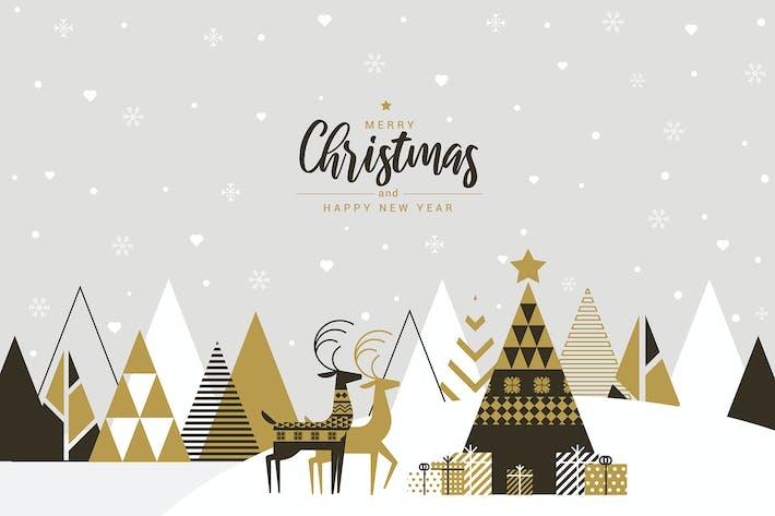 Flat design Creative Christmas greeting card
