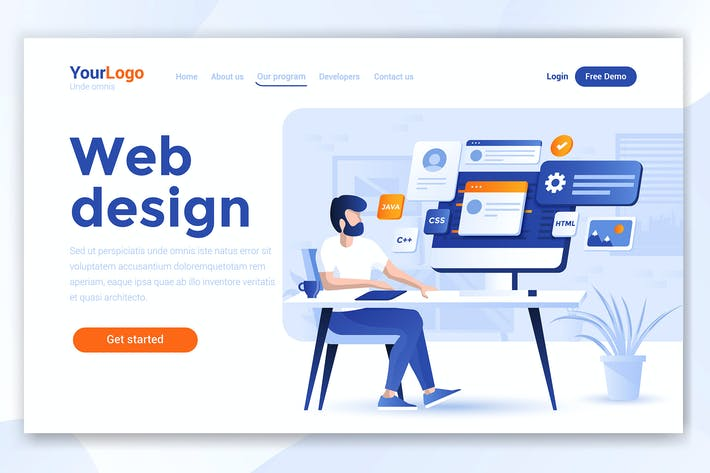Thumbnail for Landing page template of Web Design