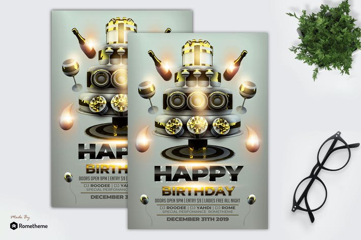 Cover Image For Happy Birthday Flyer Template MR