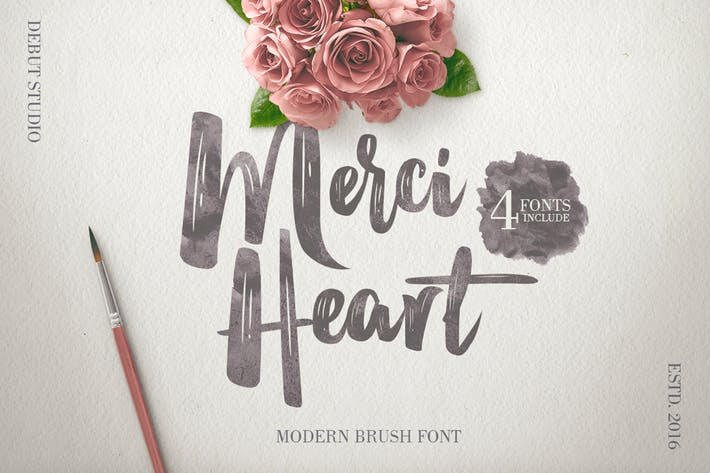 Thumbnail for Merci Heart Brush Script