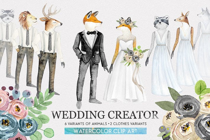 Thumbnail for WEDDING CHARACTER CREATOR  watercolor set