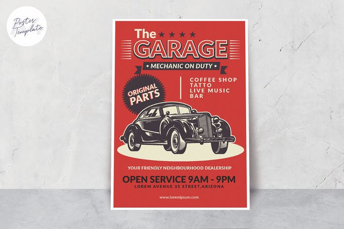 Thumbnail for Vintage Car Poster Template