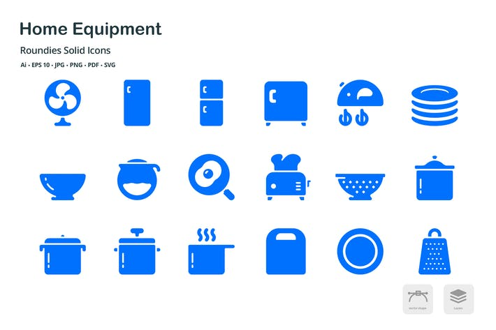 Cover Image For Home Equipment Roundies Solid Glyph Icons