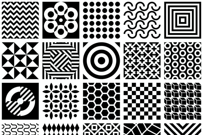 Thumbnail for Black and White Geometric Patterns Vector Artwork